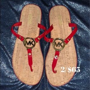 Michael Kors Red Jelly Cork Sandals Size 8
